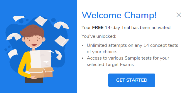 myPAT free trial welcome screen